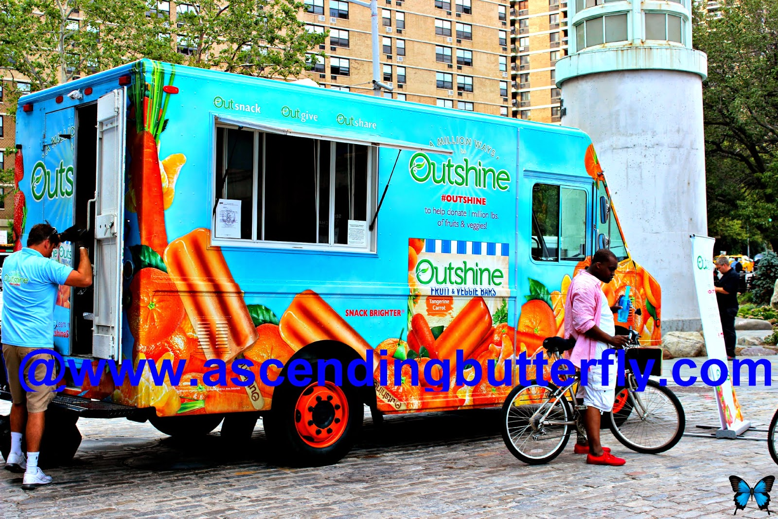 Outshine Snacks Truck parked near Pearl Street New York City South Street Seaport