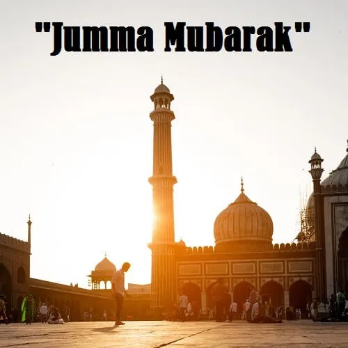 Jumma Mubarak DP with man offering sunrise prayer