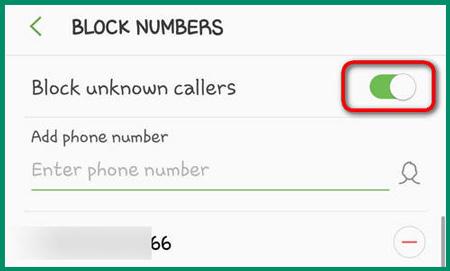 حظر المتصلين غير المعروفين سامسونغ