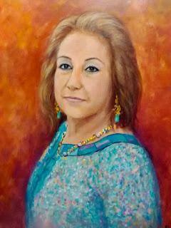 Retrato femenino azul by Rudi