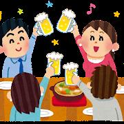 合コンのイラスト「ビールで乾杯」