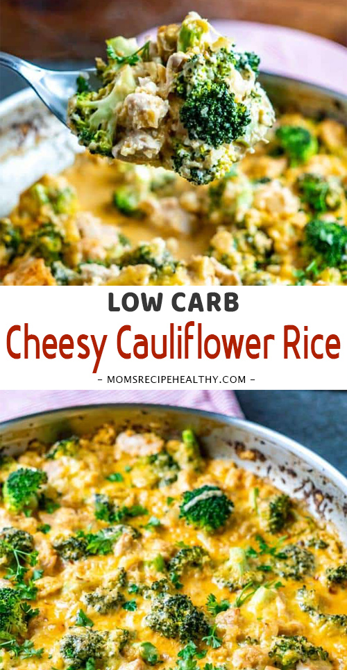 Low Carb Cheesy Cauliflower Rice with Broccoli and Chicken