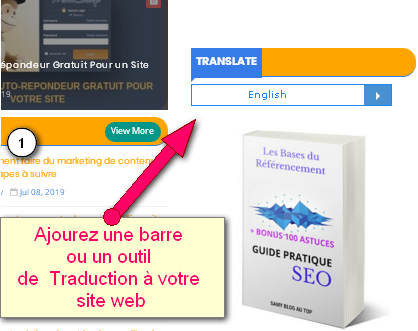 reference and translation bar on a homepage of a website