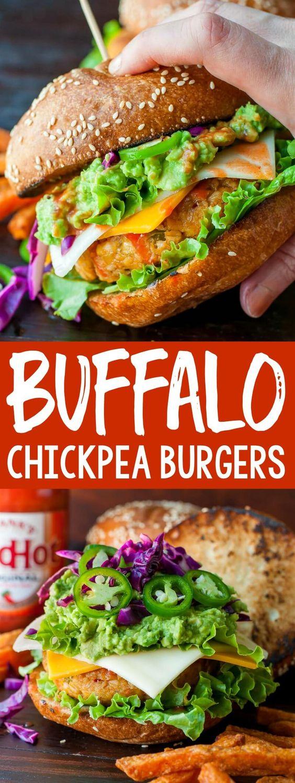Buffalo Chickpea Veggie Burgers