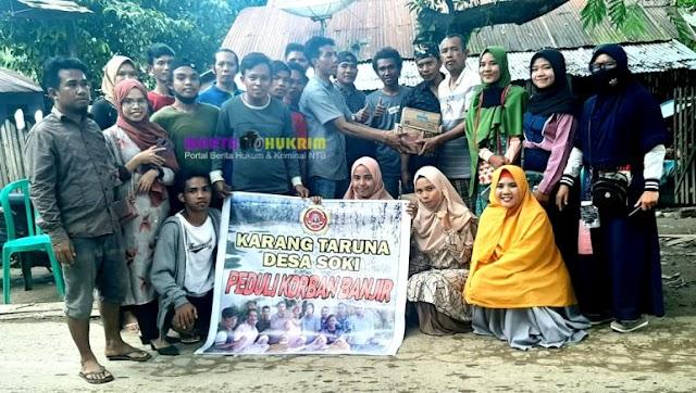 Karang Taruna Desa Soki Peduli Korban Banjir Salurkan Bantuan di Beberapa Lokasi