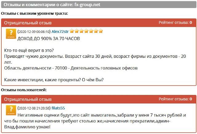 Отзывы и комментарии о сайте: fx-group.net