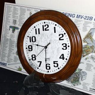 A wall clock sitting on a desk