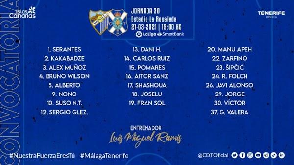 Tenerife, 23 convocados para medirse al Málaga