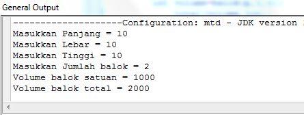 Menghitung Volume Balok dalam Java dengan Method