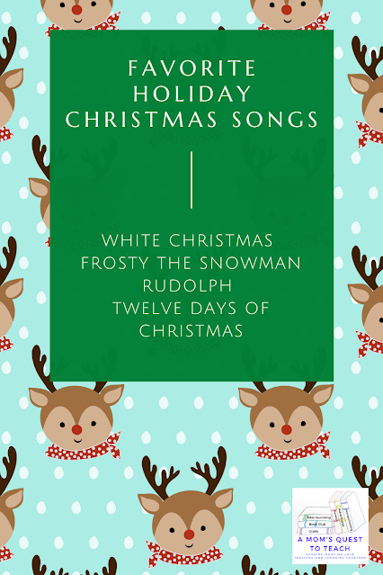 Text; Favorite Holiday Christmas Songs; White Christmas; Frosty the Snowman; Rudolph; background of Rudolph