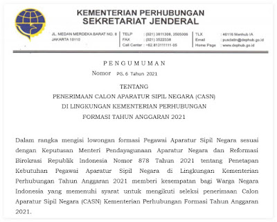 Pengumuman CPNS 2021 Kementerian Perhubungan