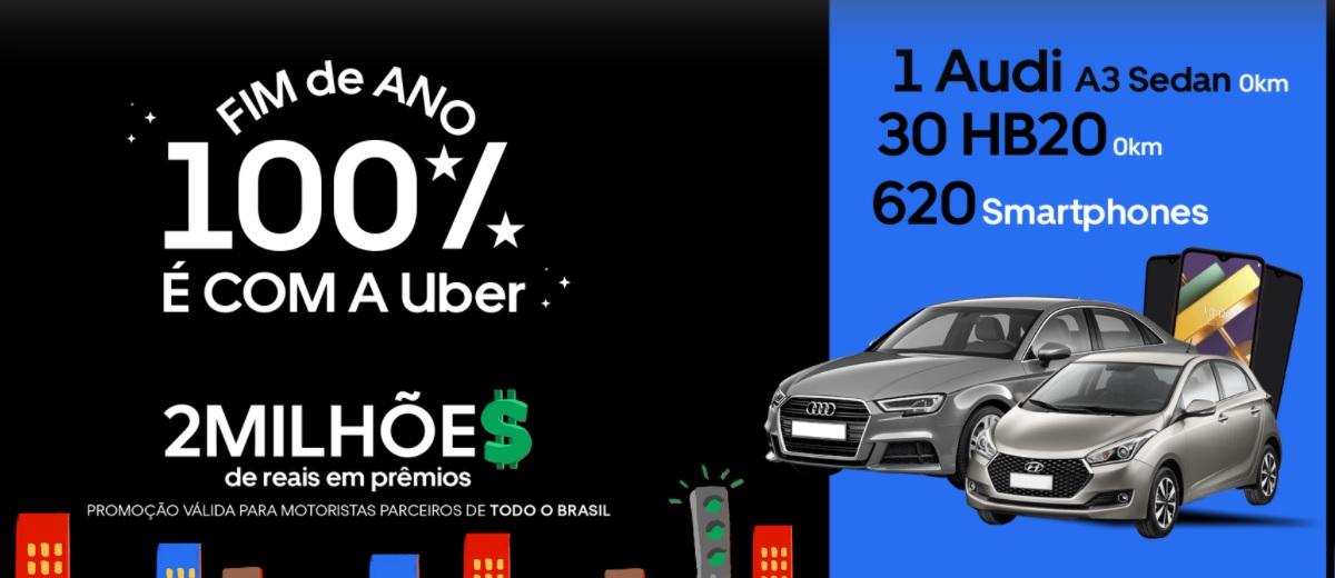 Participar Promoção Uber Motorista 2020 Fim de Ano 100% - Sorteio Audi, HB20 e Celulares