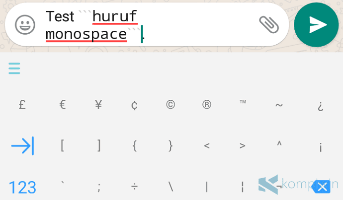 huruf monospace di whatsapp android iphone