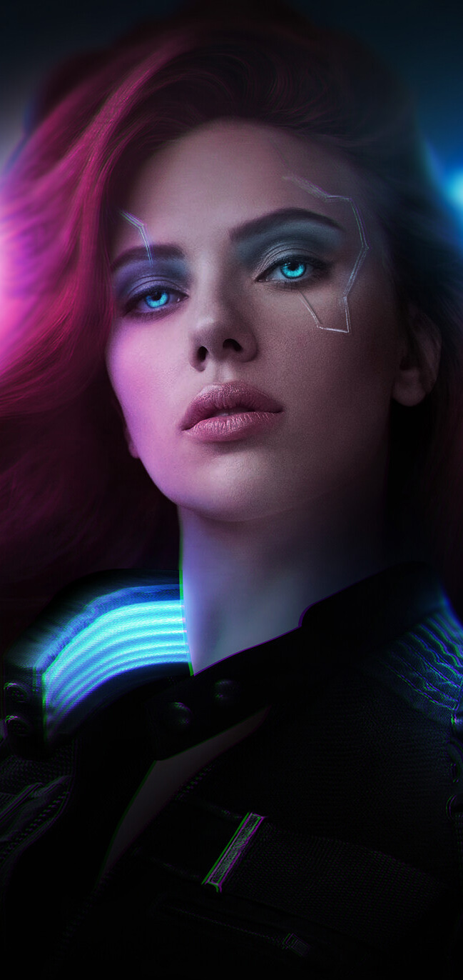 CYBERPUNK 2077 - BLACK WIDOW WALLPAPER BACKGROUND MOBILE PHONE
