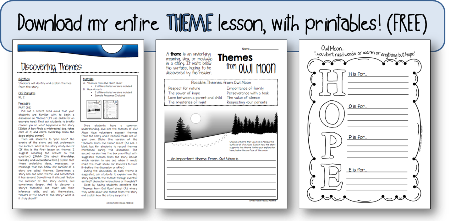 https://www.teacherspayteachers.com/Product/FREEBIE-Discovering-Themes-Sample-Lesson-from-Owl-Moon-Literature-Unit-1736841