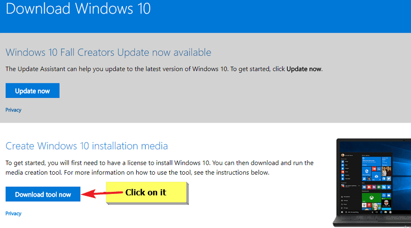 use Media Creation Tool to Download Windows 10