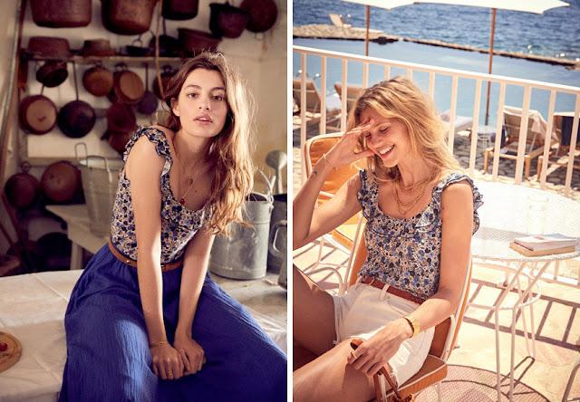 Брюнетка и блондинка в блузке в цветочек с темными и светлыми юбками