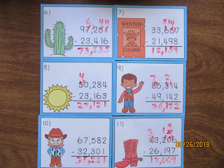 Wild West 5 Digit Subtraction Regrouping Task Cards