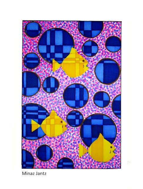 'Fibonacci Fish in the Deep Blue Sea', Bristol paper, pencil, Copic markers By Minaz Jantz