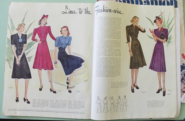 1939 womens vintage fashion magazine spread full color fall and winter dresses