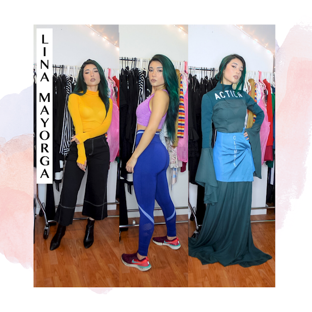 Three looks styled with Lina Mayorga's Sustainable designs