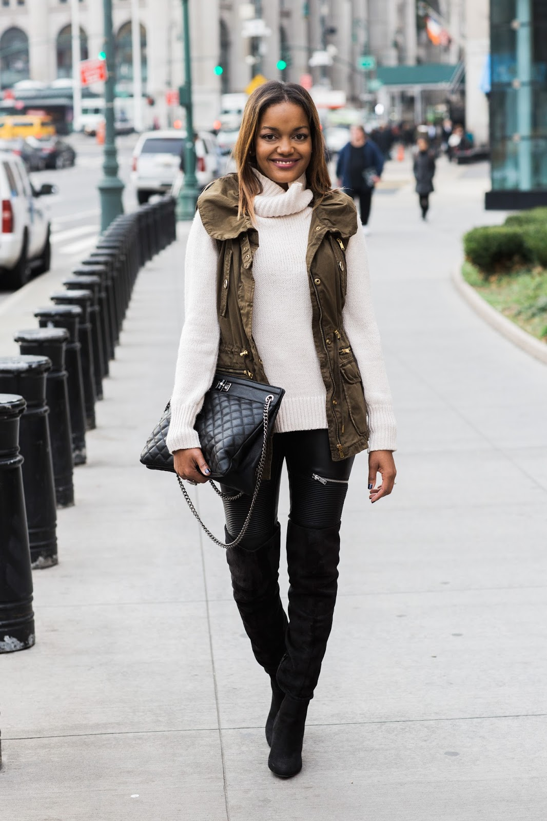 winter fashion, how to wear layers, nyc street style, dallas blogger, fashion blogger, black girl fashion blogger, detroit blogger, otk boots, justfab otk boots, quilted handbag, chanel style bag, chanel look for less,