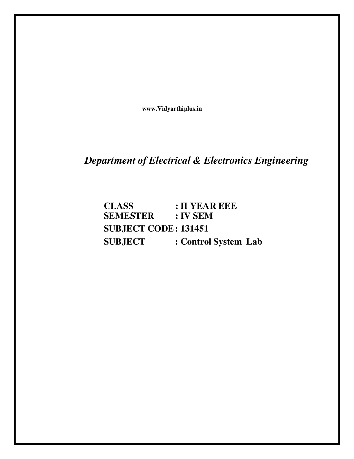 Anna University - Control System Lab Manual - 2012 Edition