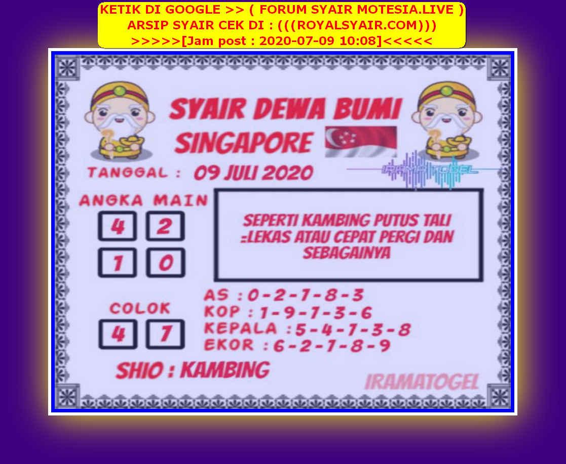 Kode syair Singapore Kamis 9 Juli 2020 156
