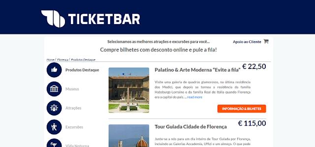 Ticketbar para ingressos em Florença