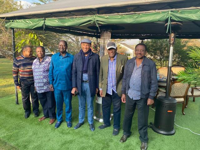 Raila Odinga with his team in Kajiado