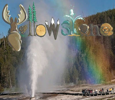 Printable rainbow wallpaper Yellowstone national park logo American kids picture old faithful geyser