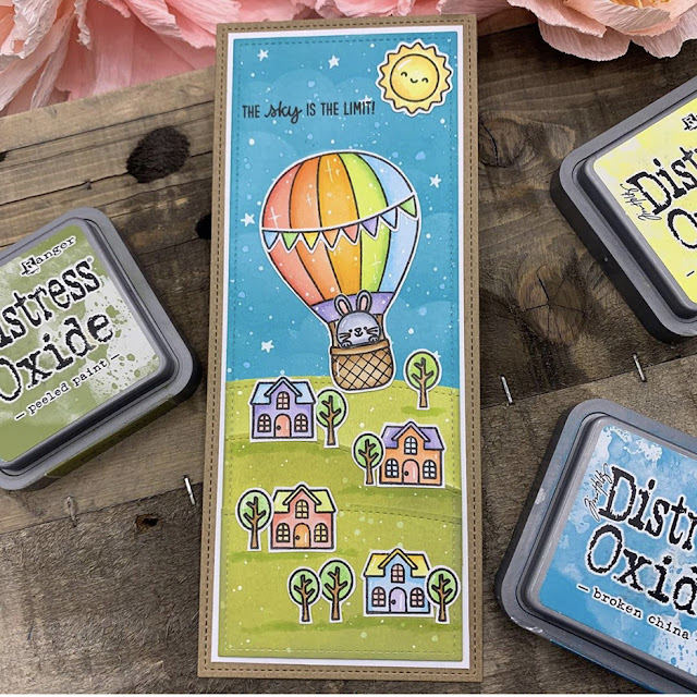 Sunny Studio Stamps: Balloon Rides Customer Card by Laura