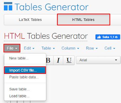 Cara membuat tabel di blog dengan excel