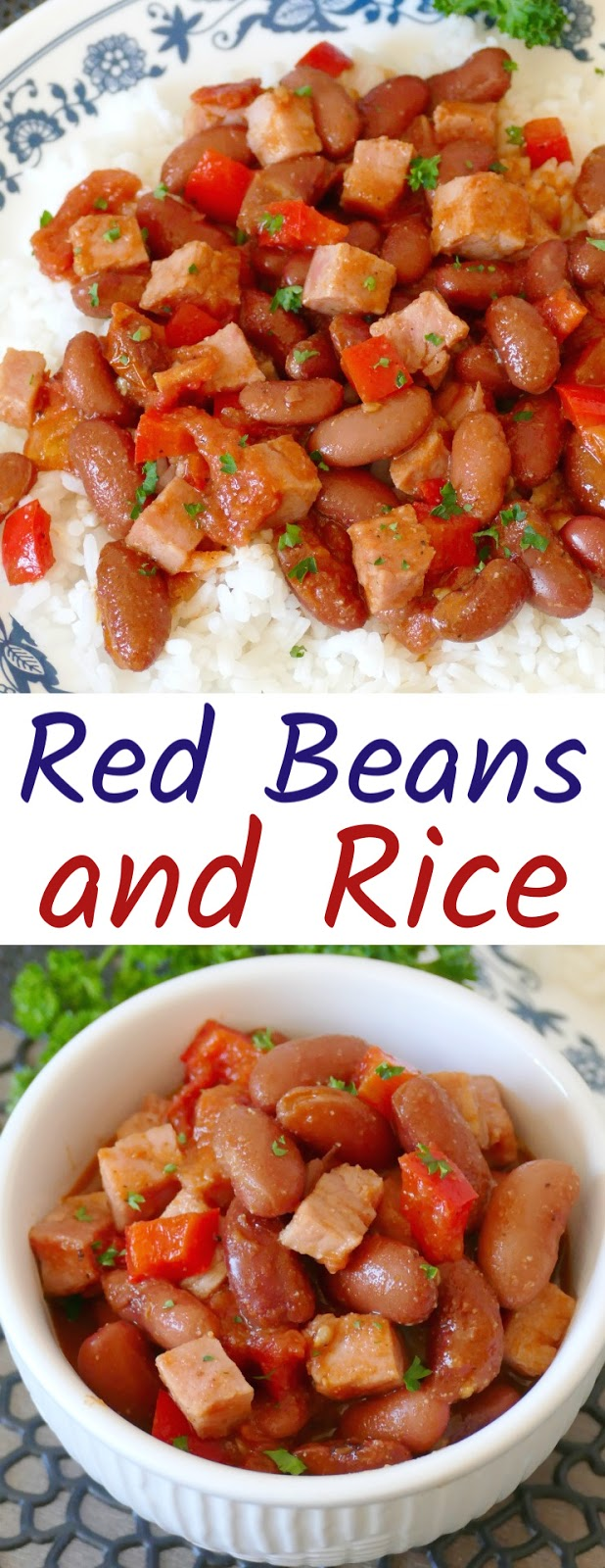 This simple homemade red beans and rice can be made with ham or smoked turkey. It uses fridge and pantry staples like bell pepper, fresh tomatoes, spices, broth and canned beans and is so hearty and absolutely delicious! Great for meal planning and budget friendly!