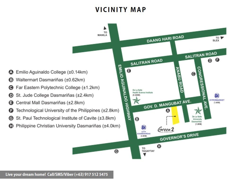 Vicinity Map - SMDC Green 2 Residences - Studio Unit | Condominium for Sale Dasmarinas Cavite