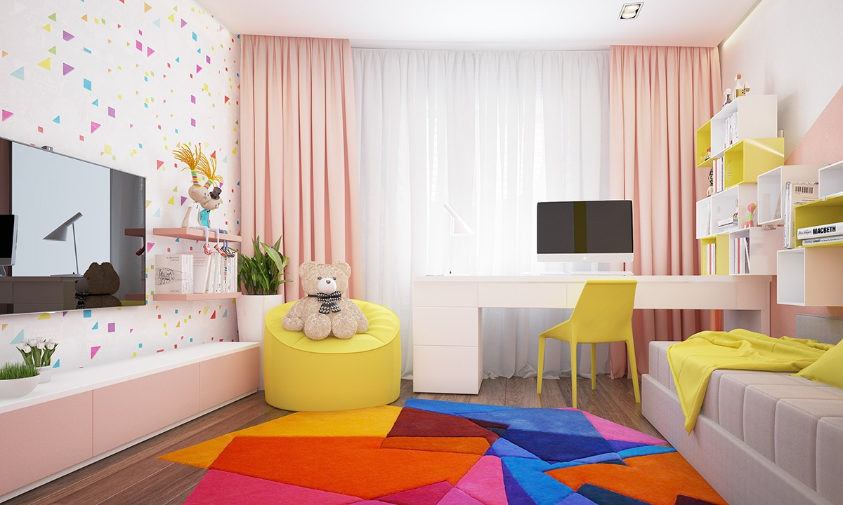 855809690be Χαρούμενο Κοριτσίστικο Δωμάτιο. Το μοντέρνο αυτό δωμάτιο χρησιμοποιεί το  χρώμα με τρόπο που απογειώνει την λιτή επίπλωση.