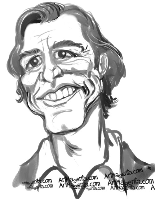 Jim Carrey caricature cartoon. Portrait drawing by caricaturist Artmagenta