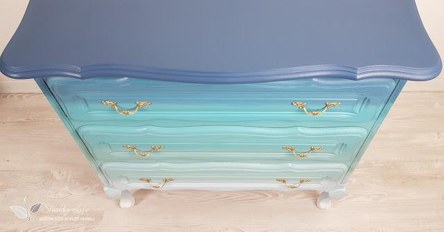 cassettiera sfumata blu azzurra