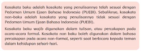 Kosakata baku adalah kosakata yang penulisannya telah sesuai dengan Pedoman Umum Ejaan Bahasa Indonesia (PUEBI). Sebaliknya, kosakata non-baku adalah kosakata yang penulisannya tidak sesuai dengan Pedoman Umum Ejaan Bahasa Indonesia (PUEBI).