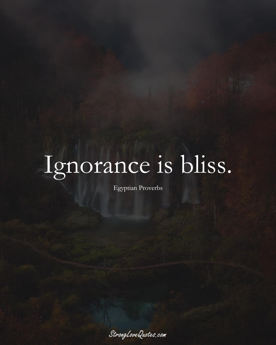Ignorance is bliss. (Egyptian Sayings);  #MiddleEasternSayings