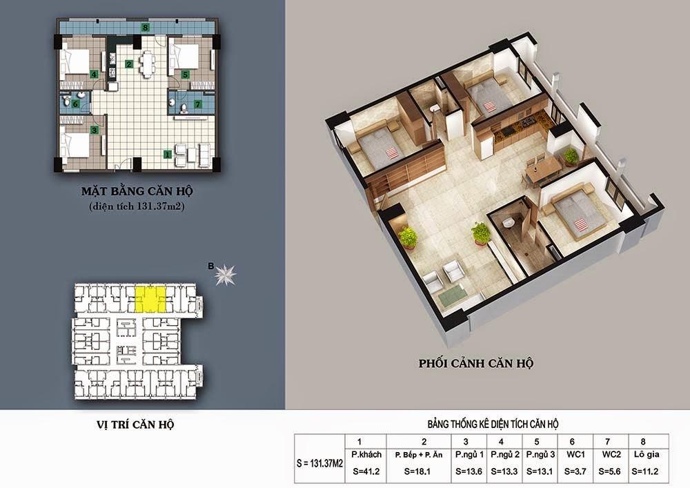 Thiết kế căn hộ 131,37m2