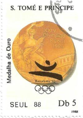 Selo medalha de ouro dos Jogos de Seul 1988