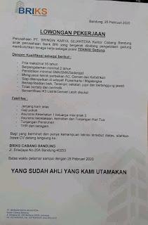 Lowongan Kerja PT Bringin Karya Sejahtera (BRIKS) 2020