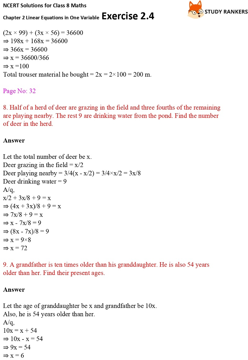 NCERT Solutions for Class 8 Maths Ch 2 Linear Equations in One Variable Exercise 2.4 4