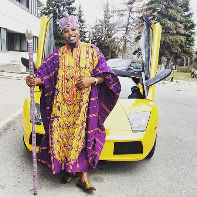 Photos: Oluwo of Iwoland, Oba Abdul Rasheed Akanbi shows off his new Lamborghini  While His Subject Hungers For Food