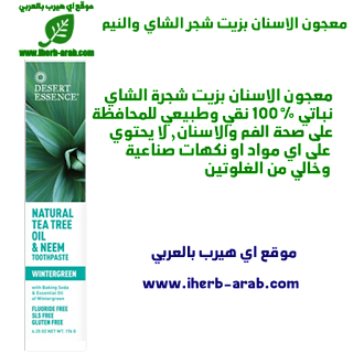 معجون الاسنان بزيت شجر الشاي والنيم Desert Essence, Natural Tea Tree Oil & Neem Toothpaste, Wintergreen, 6.25 oz (176 g)