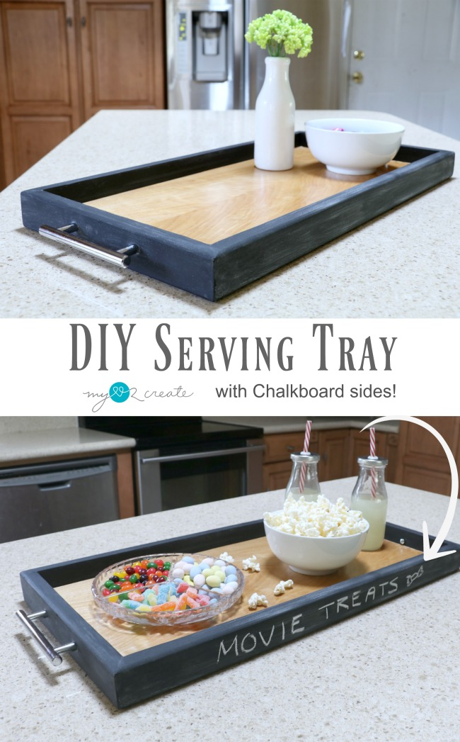 Easy picture tutorial on how to make a DIY Serving Tray out of scrap wood with chalkboard sides!  MyLove2Create