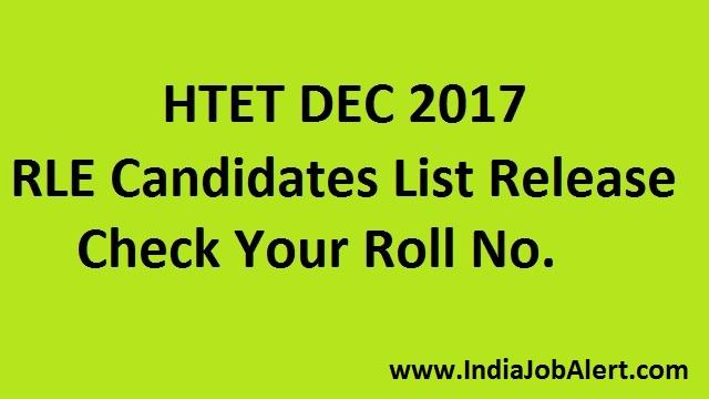HTET Dec 2017    RLE Candidate List
