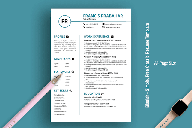 Blueish - Simple,  Free Classic Resume Template