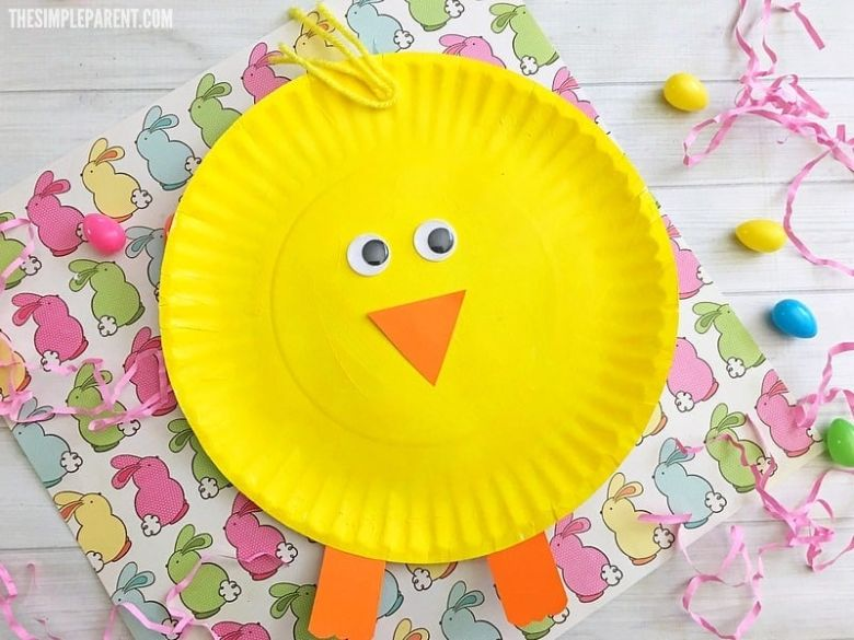 Easter crafts for preschoolers - Paper plate Easter chick craft